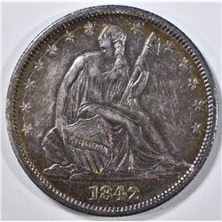 1842 SEATED LIBERTY HALF DOLLAR AU/BU