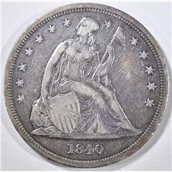 1840 SEATED DOLLAR XF