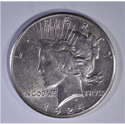 1924-S PEACE DOLLAR   AU/BU