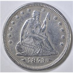 1873 SEATED LIBERTY QUARTER  XF/AU