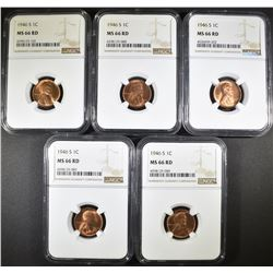 5 1946-S LINCOLN CENTS NGC MS-66 RD