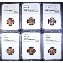 (6) P MINT LINCOLN CENTS NGC MS-66 RD