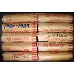 10-ROLLS CIRC LINCOLN CENTS 1920-1929