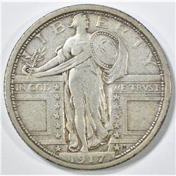 1917 TY 1 STANDING LIBERTY QUARTER  XF/AU