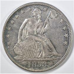1853 ARROWS & RAYS SEATED HALF DOLLAR  UNC