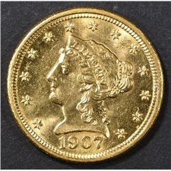 1907 $2.5 GOLD LIBERTY  CH BU