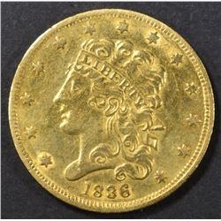 1836 $5 GOLD CLASSIC HEAD   AU/BU