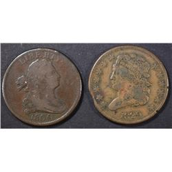 1805 VG & 1829 VF clipped HALF CENTS