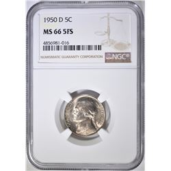 1950-D JEFFERSON NICKEL, NGC MS-66 FS