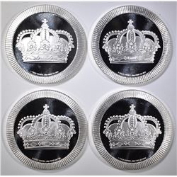 4-ONE OUNCE .999 STACKABLE SILVER ROUNDS