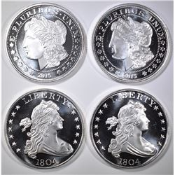 4-SILVER DOLLAR INSPIRED 1-oz SILVER ROUNDS