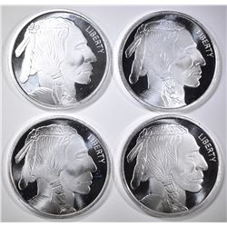 4-ONE OUNCE .999 SILVER ROUNDS BUFFALO/INDIAN