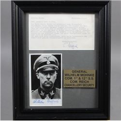 WWII Nazi SS Wilhelm Mohke Autograph Photo Letter