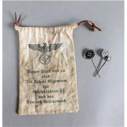 Nazi SS Pins and Bag