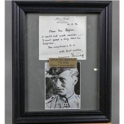 WWII Nazi Ace Johannes Steinhoff Signed Letter