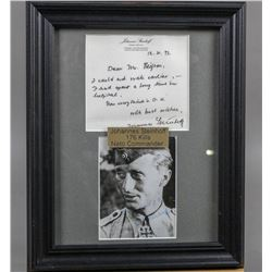 WWII Nazi Ace Johannes Steinhoff Signed Letter