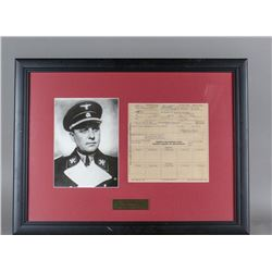 WWII Nazi Walter Darre Signed Document and Photo