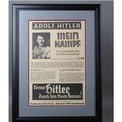 WWII Nazi Framed Advertisement of Mein Kampf