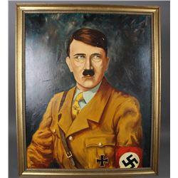 WWII Nazi Postwar Framed Painting of Adolf Hitler