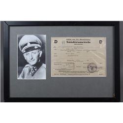 WWII Nazi Adolf Eichmann Signed Sonderausweiss