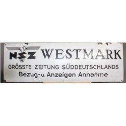 "WWII Nazi ""NSZ Westmark"" Sign"