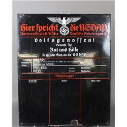"""WWII Nazi """"Volksgenossen"""" Sign"""