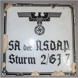WWII Nazi Early SA Sign