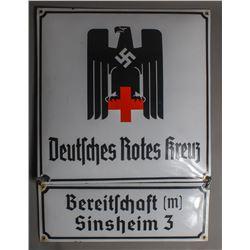 """WWII Nazi """"Deutsches Rotes Kreuz"""" Sign"""