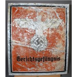 "WWII Nazi ""Gerichtsgefangnis"" Sign"