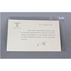 WWII Nazi Adolf Hitler Signed Note Dated 1941