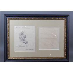 WWII Nazi Adolf Hitler Pencil Sketch Signed Letter