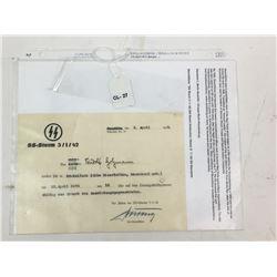 WWII Nazi German SS Uniform Issue Form