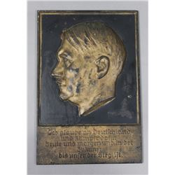 WWII Nazi Cast Iron Hitler Wall Plaque