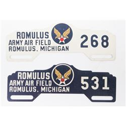 2 Romulus Army Air Field License Plate Toppers