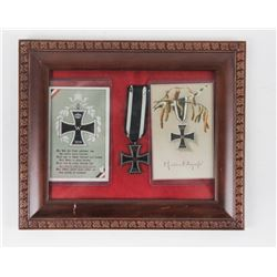 WWI German Iron Cross Display w/2 Postcards