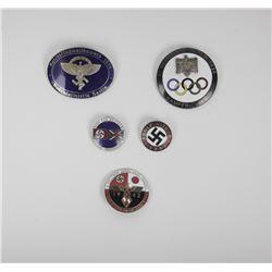 5 German Enamel Pins Insignia