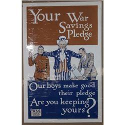 "WWI Original ""Your War Savings Pledge"" Poster"