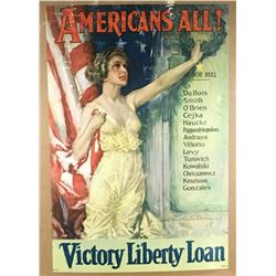 """WWI """"Americans All! Honor Roll"""" Poster"""