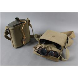Military Canteen and Binoculars