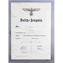 WWII Nazi Black Wound Badge Award Document