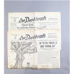 WWII Nazi Der Durchbruch Newspapers