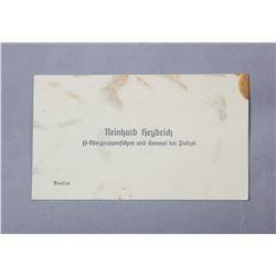 WWII Nazi Reinhard Heydrich Calling Card