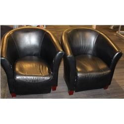 PAIR OF LEATHERETTE CLUB CHAIRS