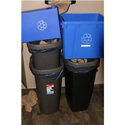 LOT OF GARBAGE CANS & RECYCLE BINS