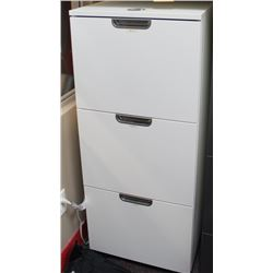 WHITE 3 DRAWER FILE CABINET, COMBINATION LOCK