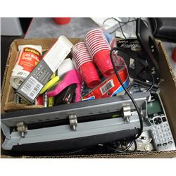 BOX OF ASSORTED OFFICE ITEMS & MORE