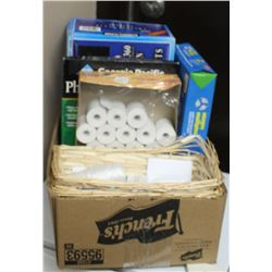 BOX OF MISC, INCLUDES PAPER, PHOTO PAPER, PAPER RO