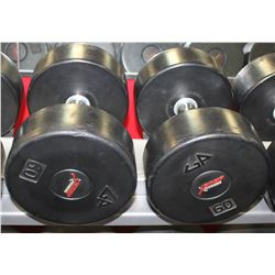 PAIR OF 60LB DUMBELLS