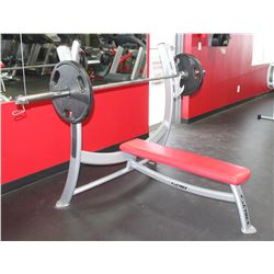 CYBEX BENCH PRESS WITH STRAIGHT BAR & TWO 45LB WEI
