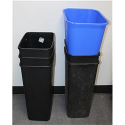 LOT OF 5 WASTE BINS & 1 RECYCLE BIN